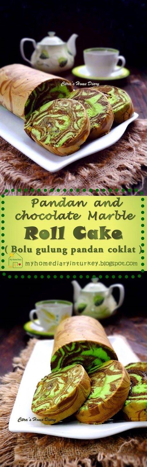 Pandan Chocolate Marble Swiss Roll Cake / Bolu gulung marble pandan coklat. #Rollcake #swissrollcake #pandan #bolugulungmarmer #marblerollcake #marblecake
