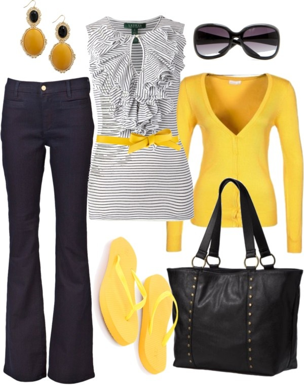 cute: Shoes, Colors Combos, Shirts, Cute Outfits, Grey Yellow, Flip Flops, Work Outfits, Dark Denim, Black