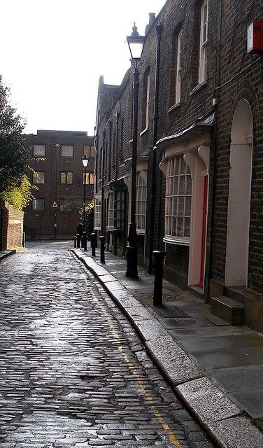 Little Green Street, London----The street is diminutive, with only eight houses on one side and two on the other. The houses were built in the 1780s, are Grade II listed, and remain one of the few intact Georgian streets in London. There are records of the small, bow-fronted shops selling ribbons and mousetraps, and previous inhabitants include manual workers such as carpenters.