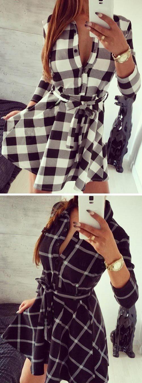 Belted Plaid Shirt Dress ❤︎ #love