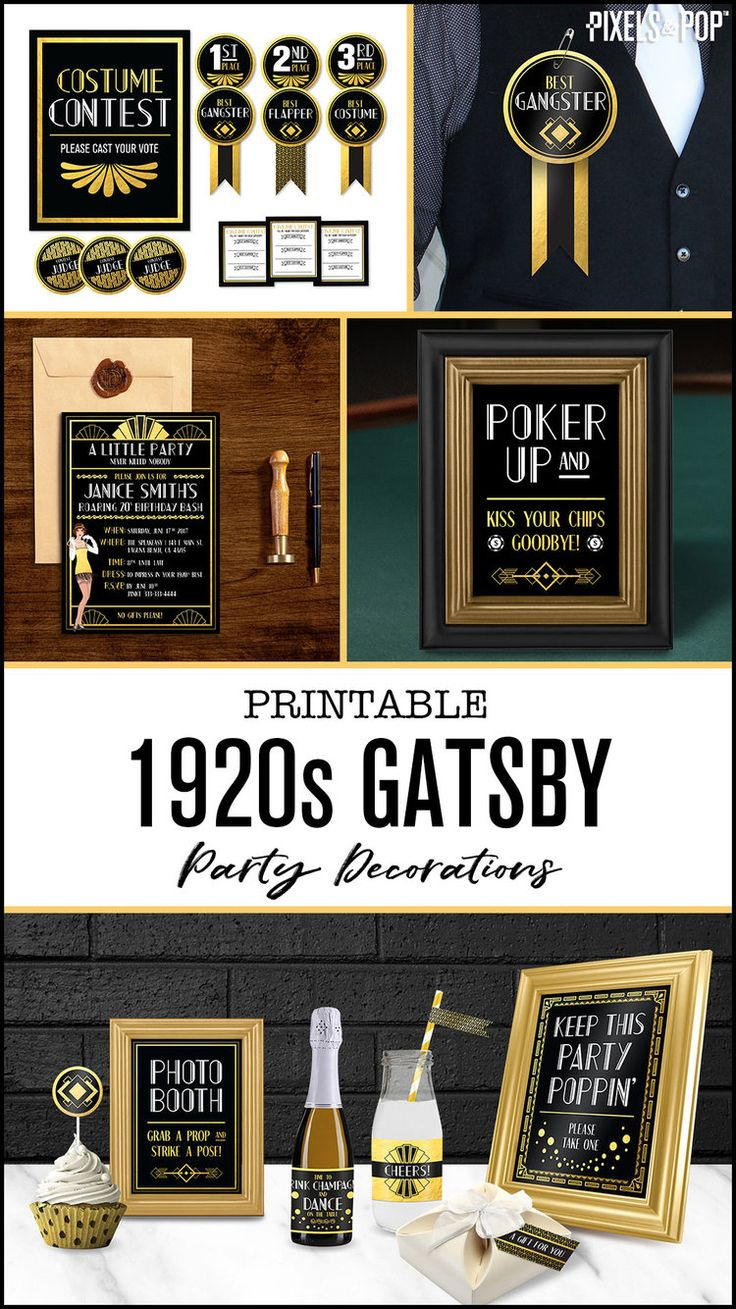 This collection of 1920s Gatsby printable party ...