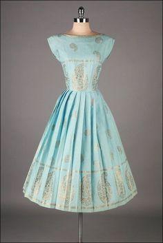 Paisley Printed Cotton Dress, ca. 1950s