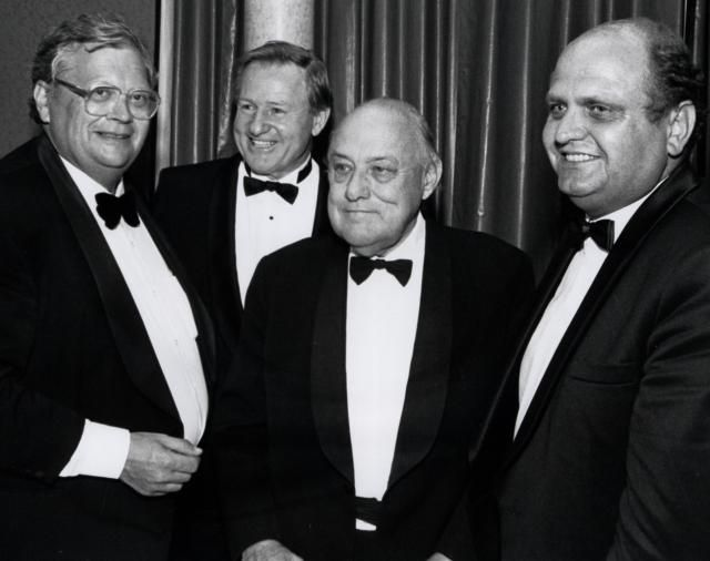 Four past New Zealand Prime Ministers together in 1992 Rt Hon David Lange, Rt Hon Jim Bolger, Rt Hon Sir Robert Muldoon, Rt Hon Mike Moore.