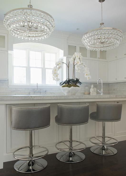 Gray Swivel Barrel Back Counter Stools Transitional Kitchen