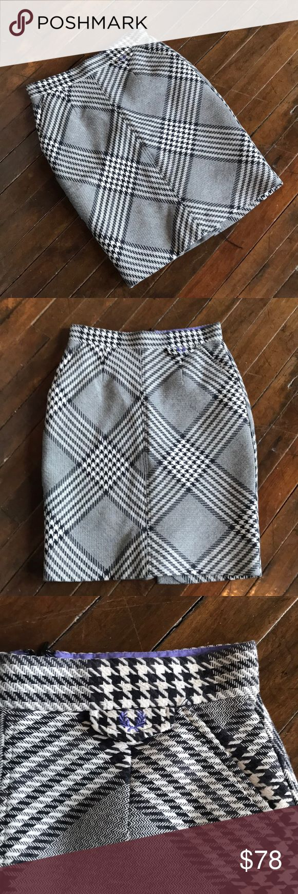 """fred perry prince wales houndstooth pencil skirt uk 10 / us 6. mod / skinhead / british designer waist: 26-27"""" hips: 38"""" length: 22"""" Fred Perry Skirts Mini"""