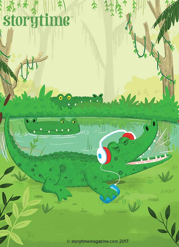 An alligator rocking out in Storytime Issue 29's fun new Alphabet Zoo poetry series. Art by @tbudgen (http://timbudgen.com) ~ STORYTIMEMAGAZINE.COM