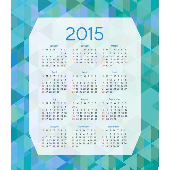 Pola segitiga latar belakang biru Selamat tahun baru 2015 Vector kalender Desain Unik Jpg Template cetak Download