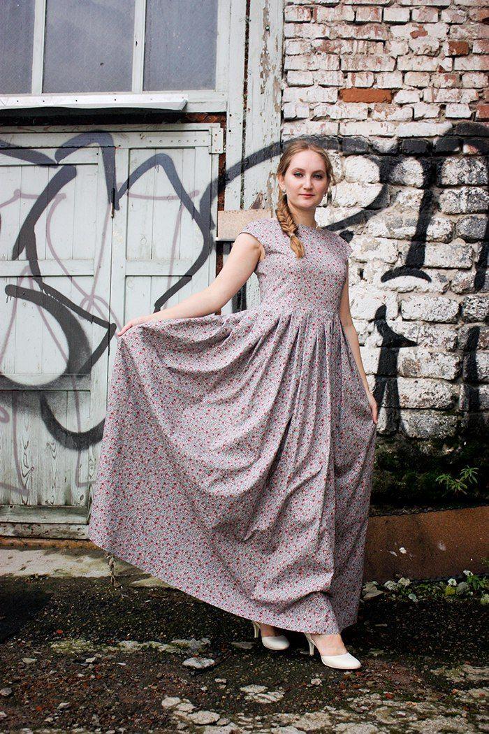 Платье-макси из хлопка со складками. Свободно в талии. ZHENYA 🐞 Женственная одежда Платья Юбки
