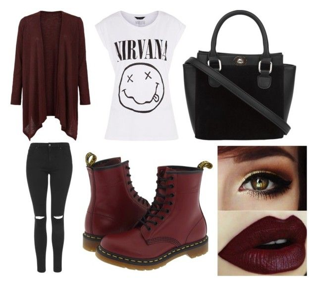 """Nirvana outfit"" by eydan-eden on Polyvore featuring mode, Topshop et Dr. Martens"