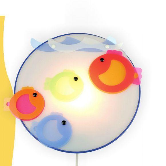 Good Kinder Wandleuchte bunte Fische mit Schalter und m Kabelzuleitung inklusive x E SchalterFischeKinderzimmer