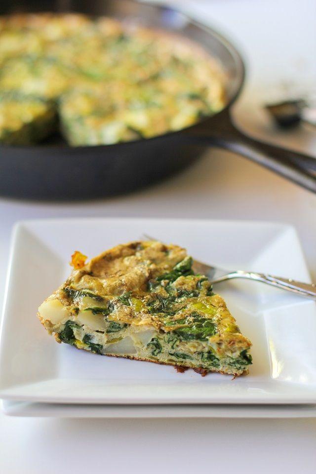 Spinach, Leek, and Potato Frittata | theroastedroot.net #brunch #recipe #vegetarian @foodfanatical @dreamfarm