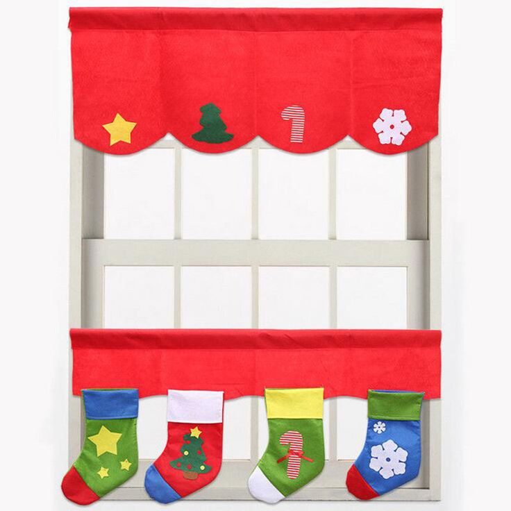 2 Door Window Hanging Curtain & 4 Santa Socks For Christmas Year Decoration