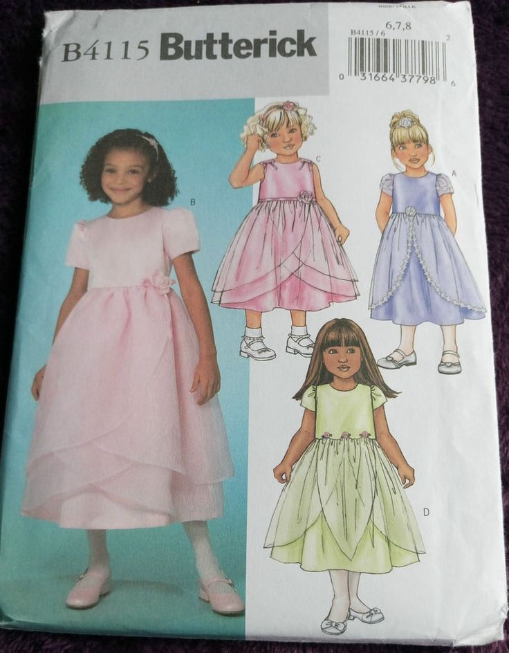 Butterick B4115 GIRL'S  BRIDESMAID PARTY DRESS 6, 7, 8 years #Butterick