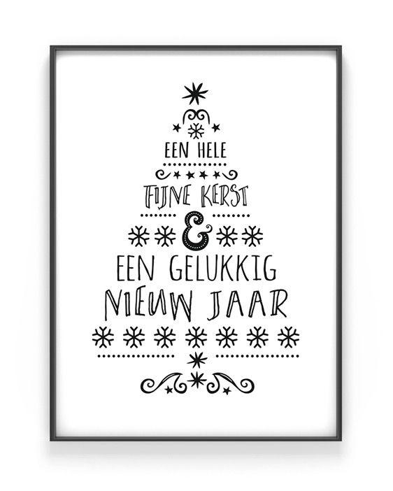 Zwart wit Kerstposter - Kerstboom woorden poster in typografische stijl van printcandy.nl: In 3 simpele stappen prints en posters online customizen.