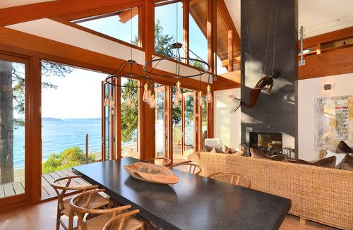 Open floor plan #house in British Columbia #ocean with gorgeous kitchen and dining room. What a lovely view
