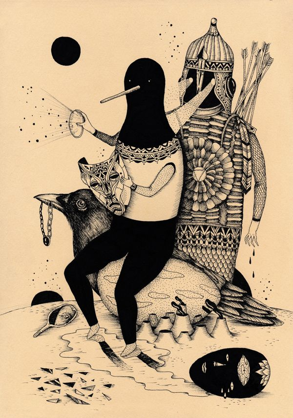 #FantasticArtAndWhereToFindThemFriday Ink Illustrations by Saddo Read it here: http://wp.me/p4vAYx-dSl