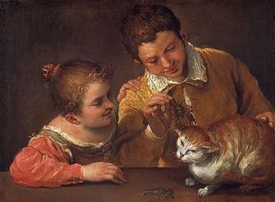 Annibale Carracci (1560–1609) Two Children Teasing a Cat 1590