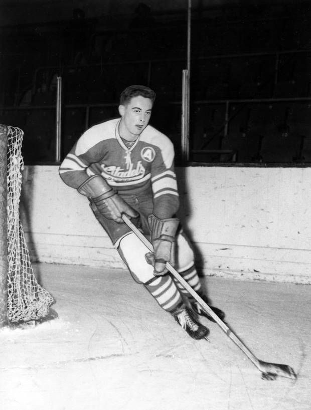 Jean Beliveau, 19-year-old centre for the Quebec Citadels and a leading scorer in the Quebec Junior Amateur Hockey Association with 49 goals and 50 assists in 33 games, is pictured in a 1951 file photo. Former Montreal Canadiens star Jean Beliveau died Tuesday at the age of 83. (THE CANADIAN PRESS)