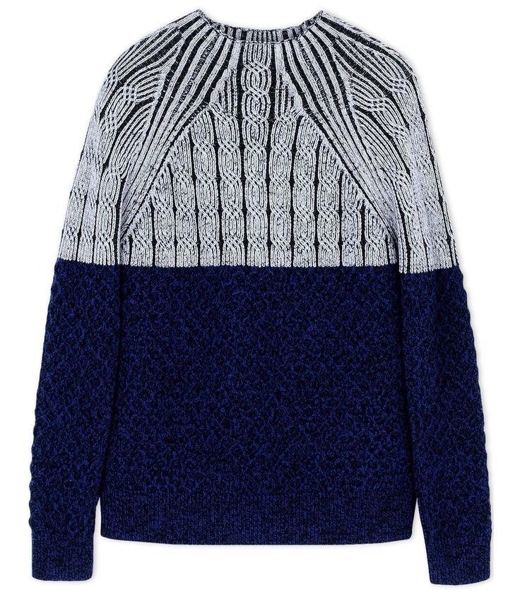 Proenza Schouler Navy Color-Block Wool Turtleneck Sweater