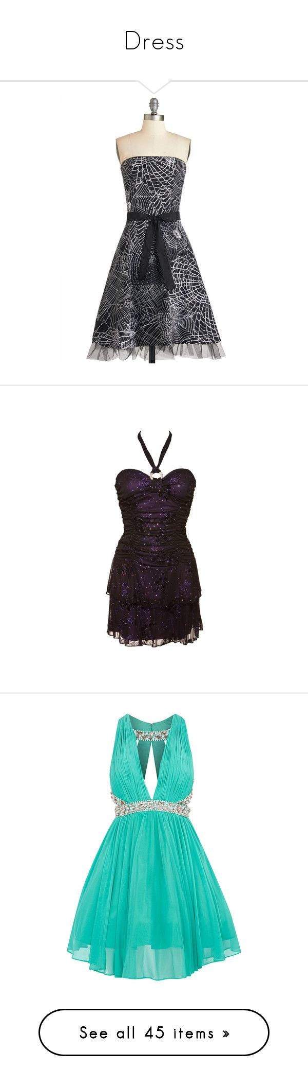 """""""Dress"""" by jessfairy88 ❤ liked on Polyvore featuring dresses, halloween, short dresses, black, apparel, fashion dress, strapless cocktail dresses, a line mini dress, strapless long dresses and short strapless dresses"""