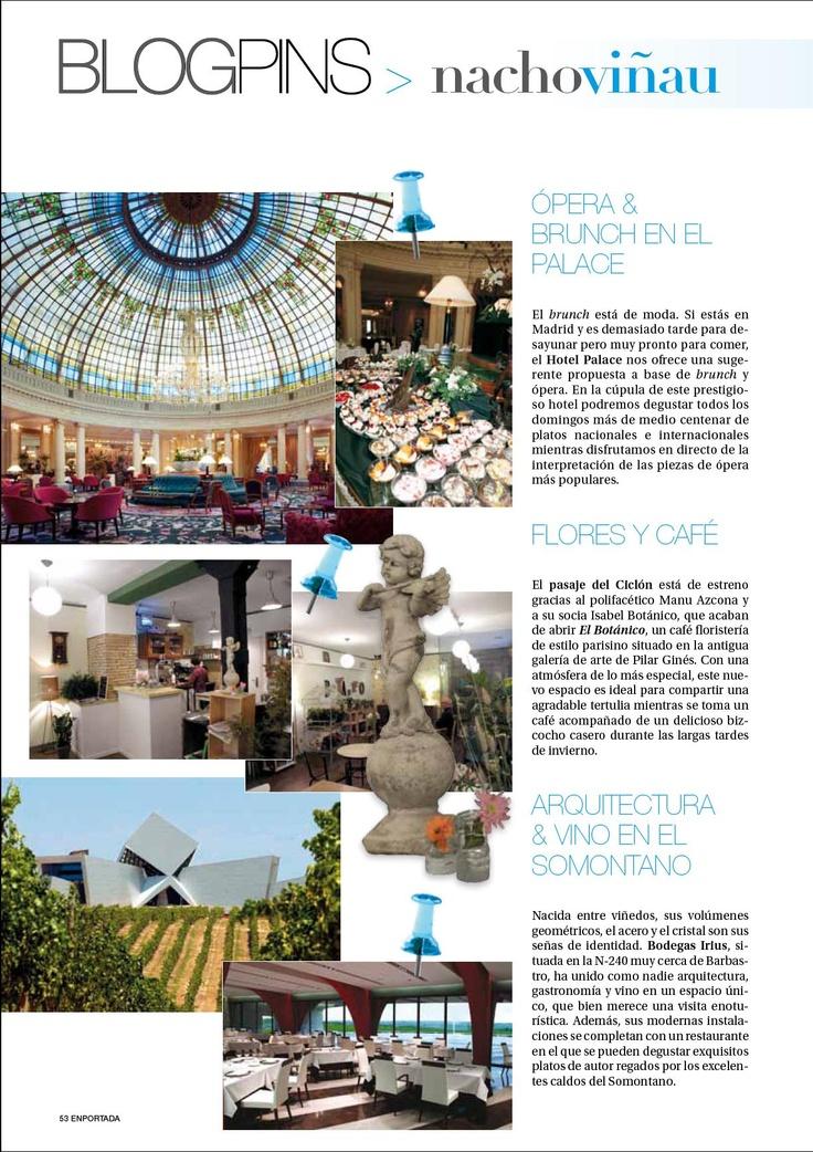 Una de las dos páginas de Blogpins, la sección en la que desgrano tiendas, restaurantes y sitios con encanto para la sección Aragón EnPortada