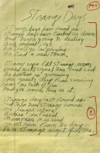 The Doors Strange Days Jim Morrison\u0027s handwritten lyrics.