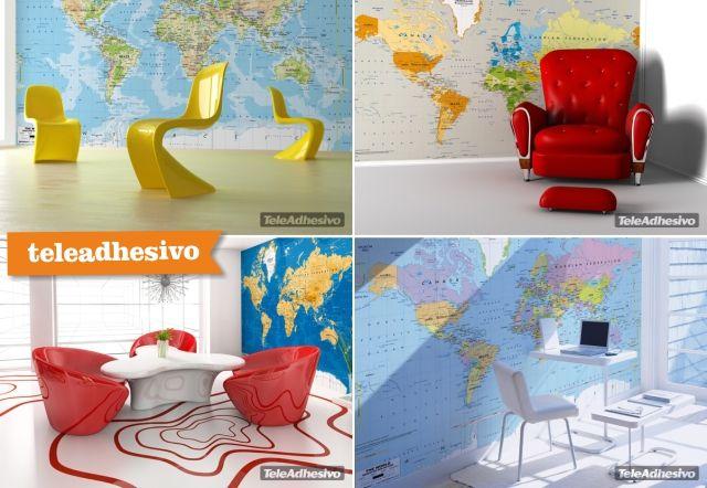 Donde comprar un mapa del mundo para la pared entera como mural