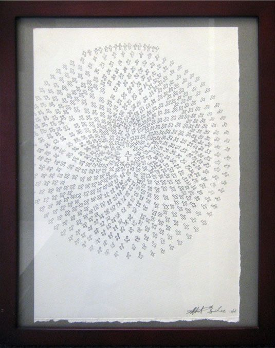 """#45   Artist: Albert Lee   Title: """"Crosses""""   Medium: Pencil on paper   Dimensions: 12 3/4"""" x 9 inches   Framed 15"""" x 12 inches"""
