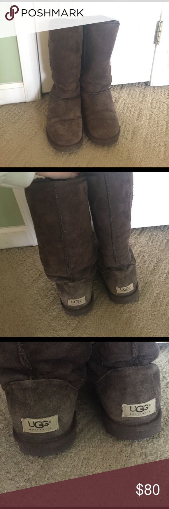 Authentic Brown Tall Ugg Boots These are in great condition, I just have too many pairs of uggs so I'm trying to get rid of ones I don't often wear. UGG Shoes Winter & Rain Boots