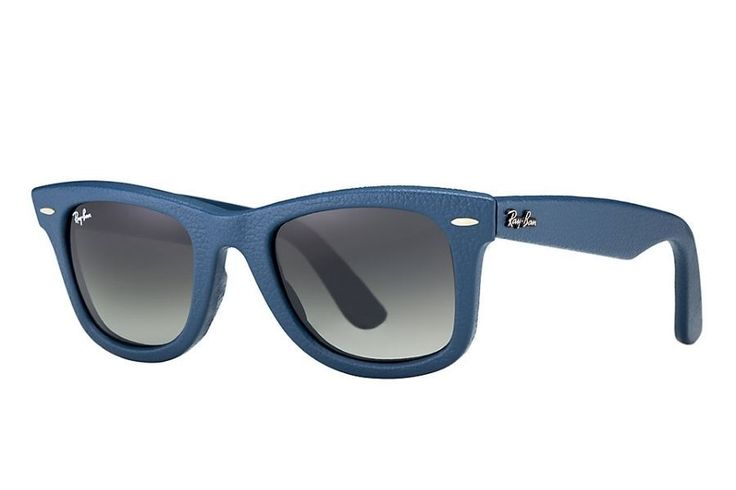 Ray-Ban Rb 2140 Qm 116871 Blue Leather 50Mm Sunglasses Authentic Wayfarer