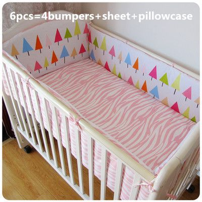 Promotion! 6pcs Crib Sets High Quality Cotton Baby Bedding Sets,Cute Animal  (bumpers+sheet+pillow cover)