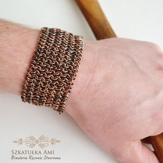 Mens Copper Bracelet Copper Chainmail by SzkatulkaAmiJewelry, #menscopperbracelet, #menschainmailbracelet