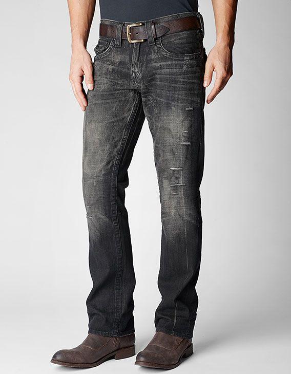 True Religion Brand Jeans, RICKY STRAIGHT BLACK MENS JEAN, awxd revolver,  Mens :
