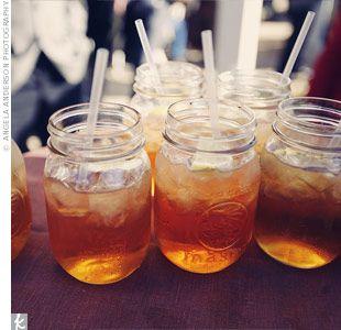 Sweet tea in mason jars