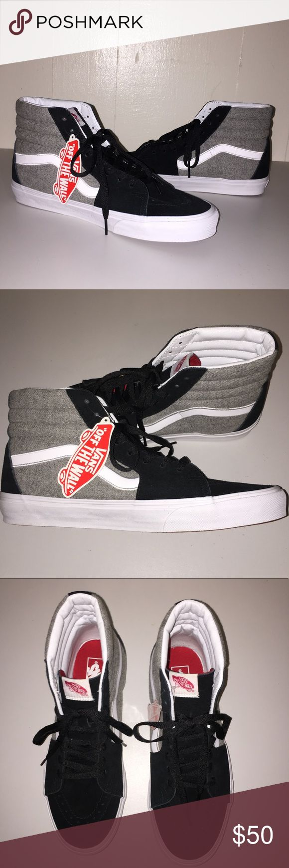 NWT Vans Men's SK8-Hi Wool Sport Black/Gray Cool gray wool and black suede shoes.  Great neutral color combination will match any outfit. Box is a bit torn and smashed. PRICE IS FIRM. Vans Shoes Sneakers