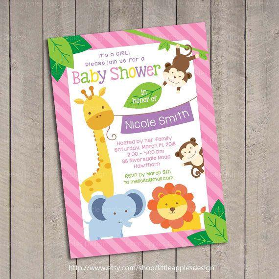 28 best jungla images on pinterest jungle safari girl baby girl safari baby shower invitation girl jungle safari baby shower invitation sweet safari baby filmwisefo Image collections