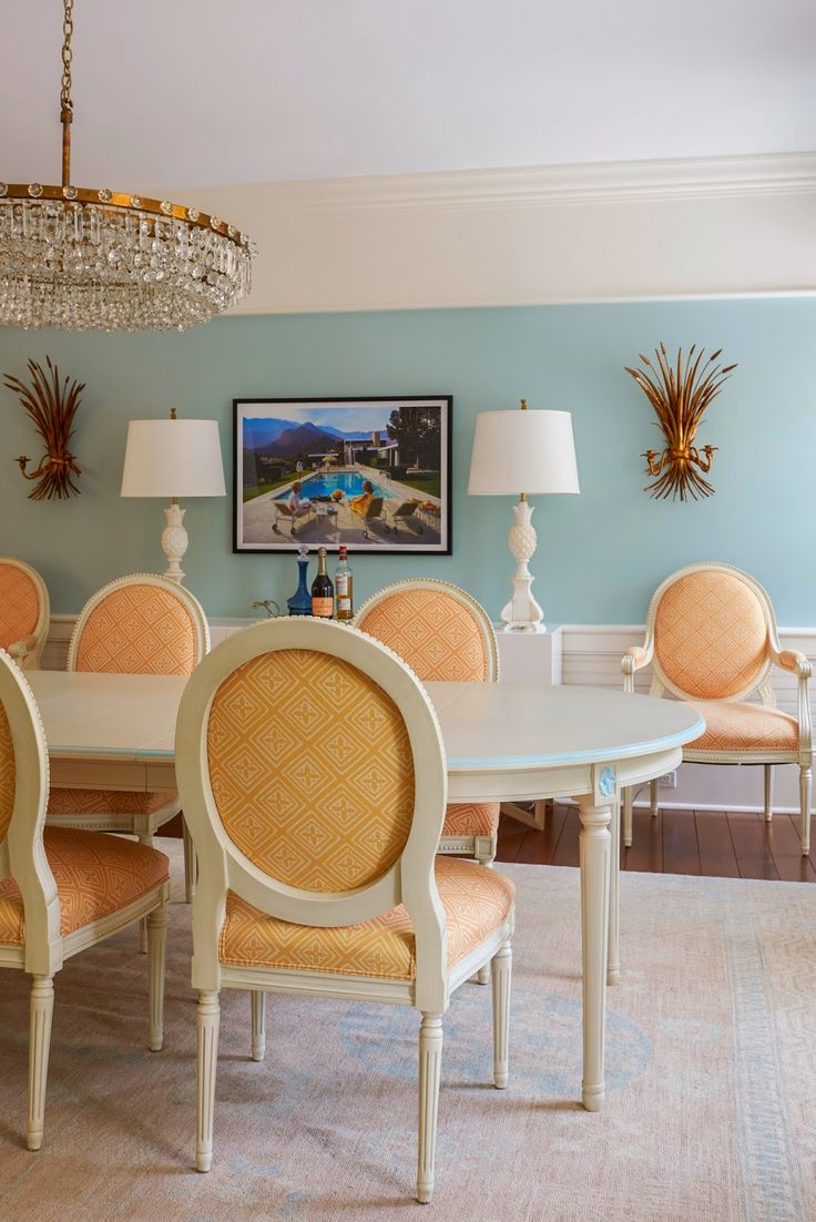Blue And Orange Dining Room By Jennifer Mehditash