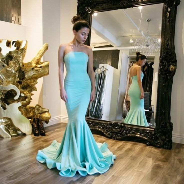 Cheap Mermaid Long Evening Dresses Abendkleider lang 2016 Simple Sleeveless Strapless Plus Size Formal Dress Party Evening Gowns