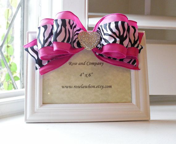 Zebra Picture Frame Zebra Room Decor Girl Room by RoseandCoDecor