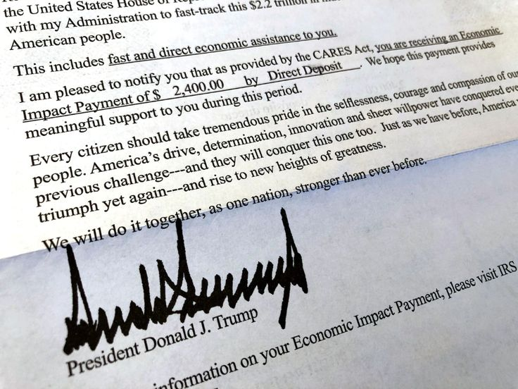 His name on stimulus checks, Trump sends a gushing letter