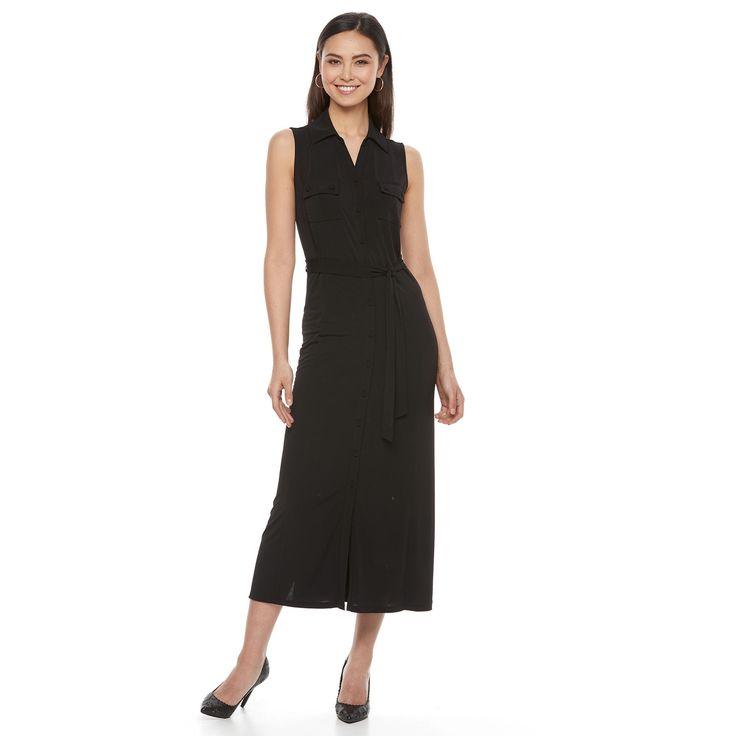 Women's Dana Buchman Midi Shirtdress, Size: Medium, Black