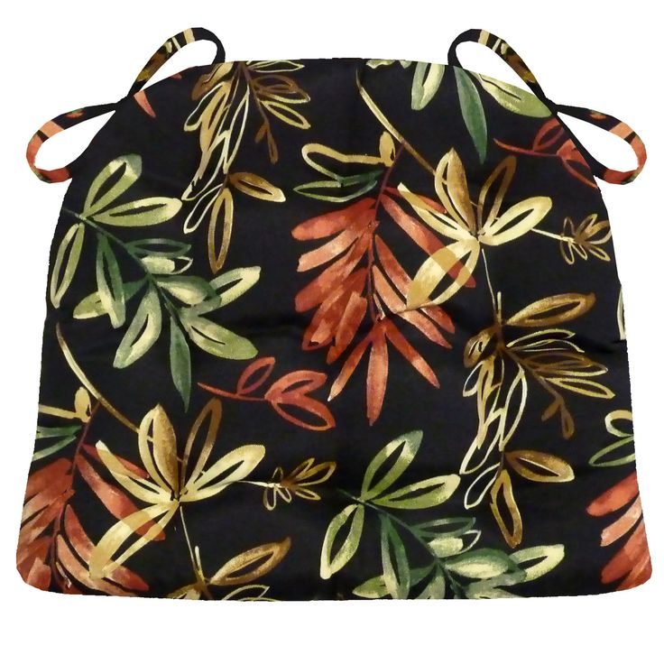 Manilla black Dining Chair Pads & Patio Cushions feature a tropical foliage print in shades of red, green, and gold on a black background. #leaf #green