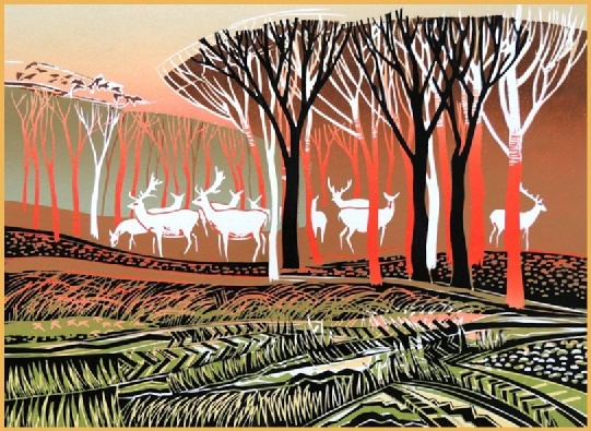 White Deer, Rob Barnes Linocut  this is beautifully rendered/printed, and I love the color choices as well!