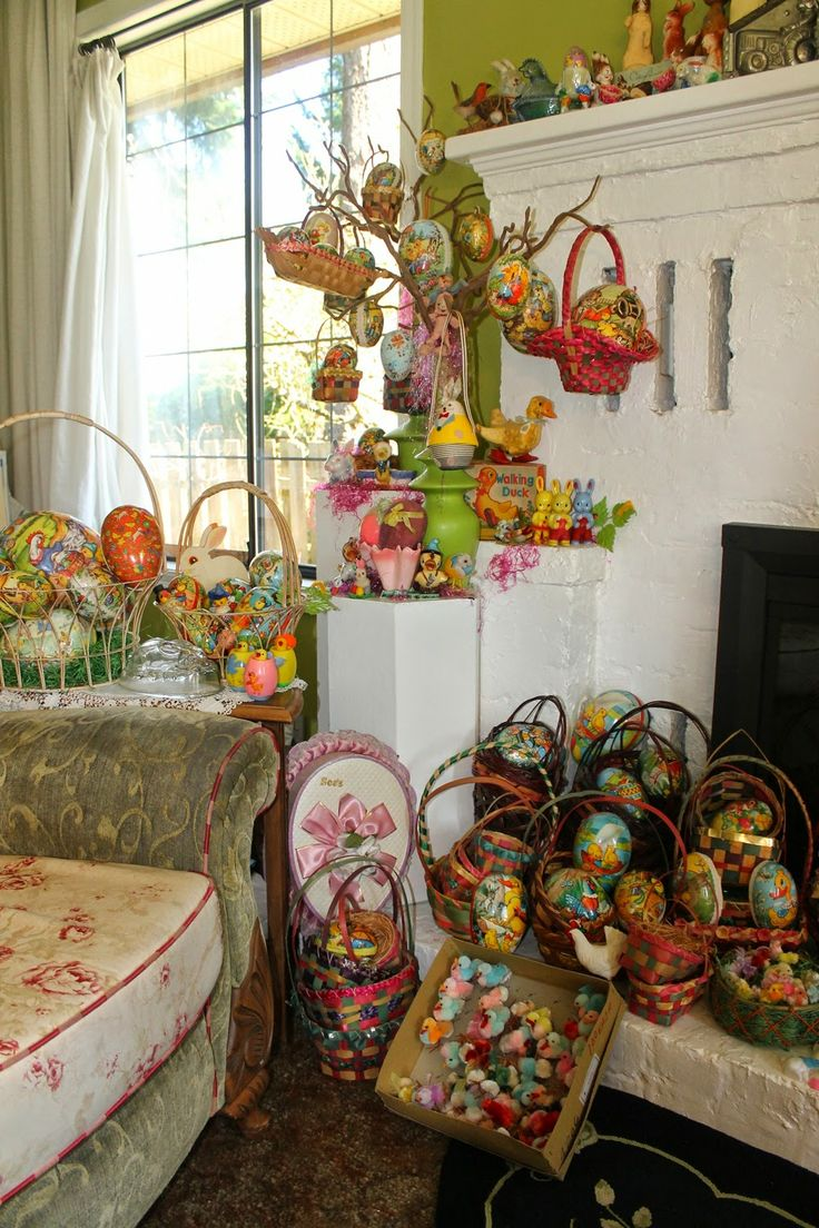 21 best images about happy holidays easter displays on for Easter decorations for the home pinterest