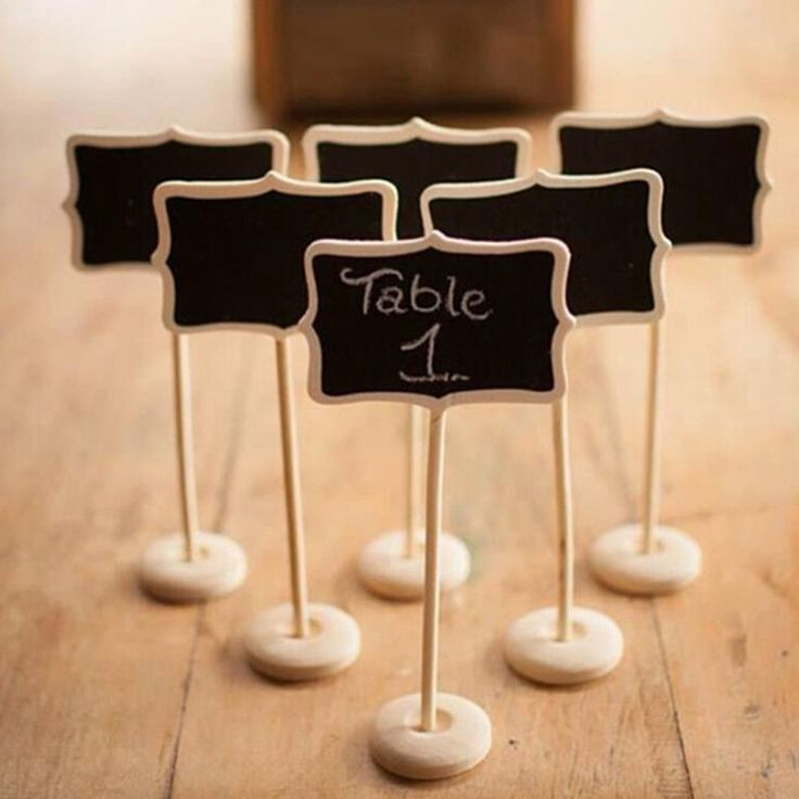 5PCS  Mini Wood Chalkboard Blackboard Wooden Place Card Holder Table Number for School Event Office Decoration