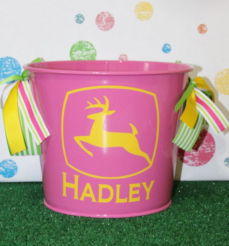 Personalized Easter Basket Tractor Theme Monogrammed Easter Bucket Metal Pail Boys Easter Basket Pail John Deere by TGNCreations on Etsy