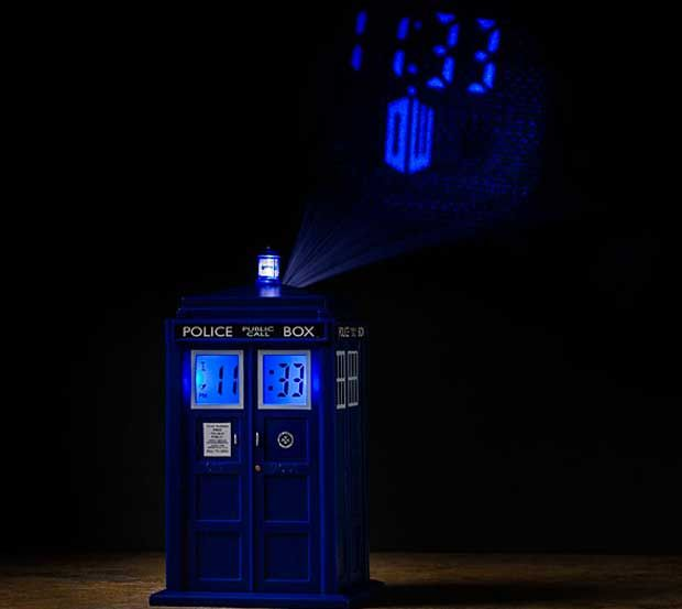 TARDIS projection alarm clock...It projects the time and the Doctor Who logo onto your ceiling, and when the alarm goes off, the TARDIS dematerialization sound effects play and the lantern flashes... Not gonna lie I would love to have this. :)