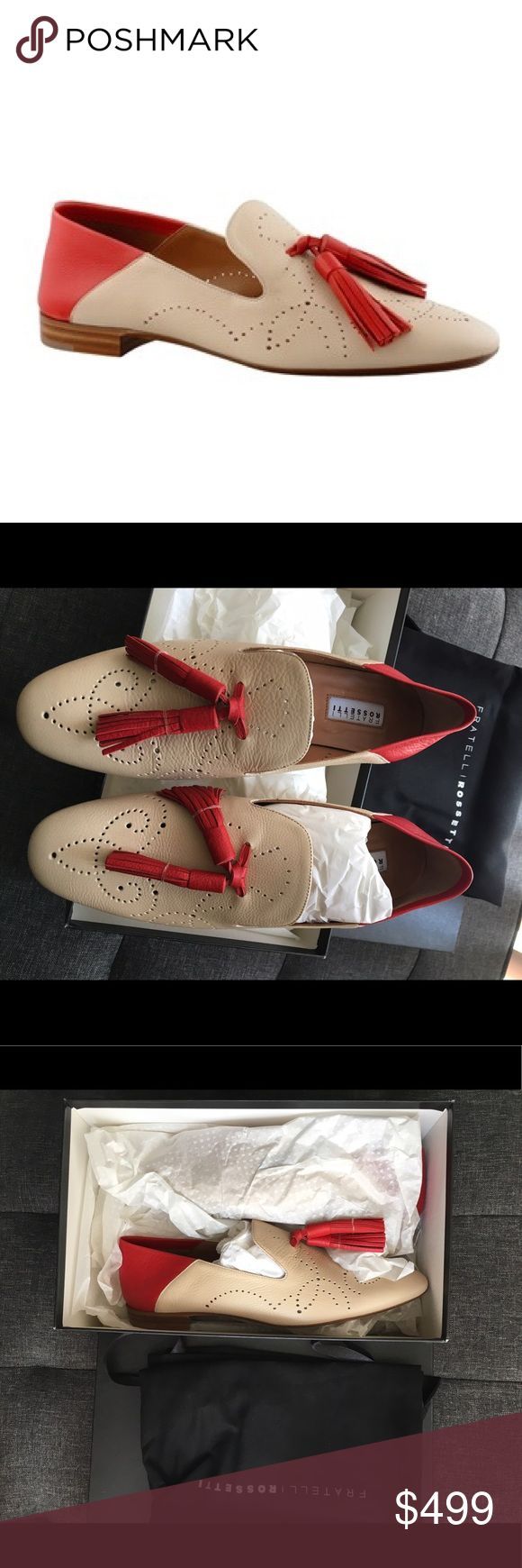 Beautiful italian leather loafers NWT. Brand new beautiful Italian loafers with tassels and decorative perforations. Made from soft dual-color calfskin with contrasting heel and tassels. Leather sole.🚫NO TRADES🚫📦FAST SHIPPER📦❗️Reduced price for 🅿️🅿️❗️ Fratelli Rossetti Shoes Flats & Loafers