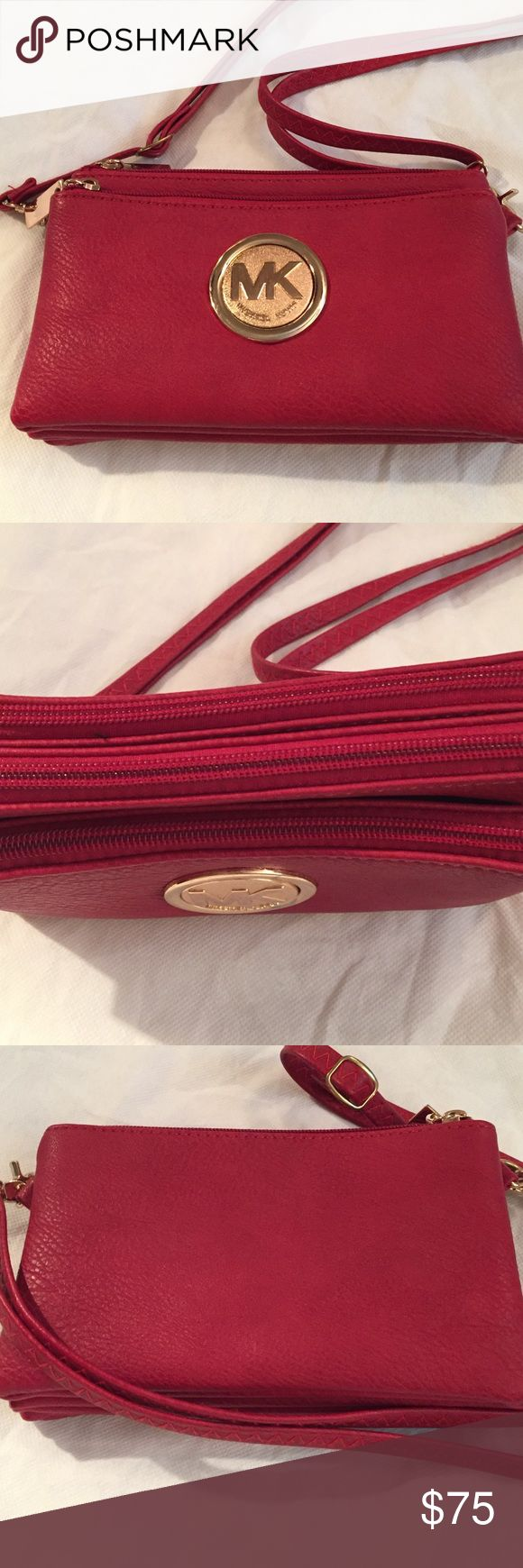 MK Crossover Purse Red, 3 pocket crossover purse. Beautiful!! Michael Kors Bags Crossbody Bags