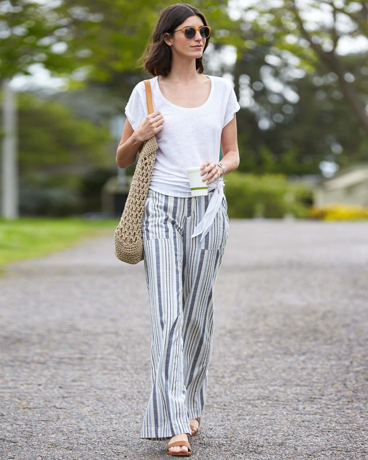 I freaking love stripes, and these look like the perfect pants to combat the struggle of summer vs air conditioning. I love that it's styled with a casual tee.